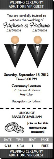 Black Tux Gay Wedding Ticket Invitation Light Light