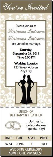 Bone Class Act Lesbian Wedding Ticket Invitation