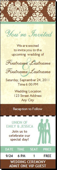 Chocolate Damask Lesbian Wedding Ticket Invitation, Set of 12