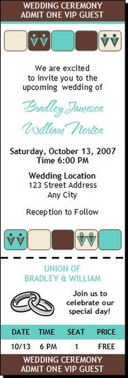 Chocolate Tiffany Squares Gay Wedding Ticket Invitation