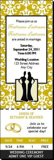 Class Act Lesbian Wedding Ticket Invitation