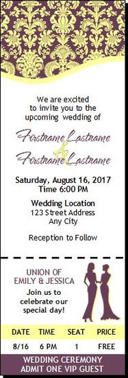Eggplant Floral Lesbian Wedding Ticket Invitation Femme-Femme