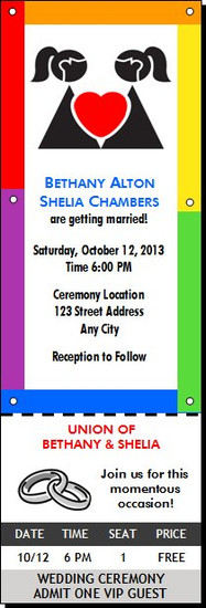 Rainbow Lesbian Wedding Ticket Invitation