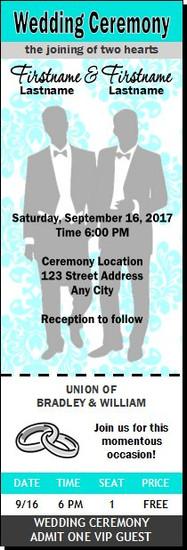 Tiffany Blue Damask Gay Wedding Ticket Invitation