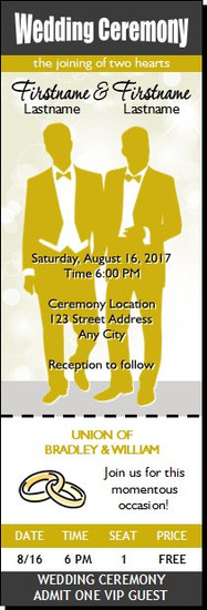 Wedding Gay Ticket Invitation