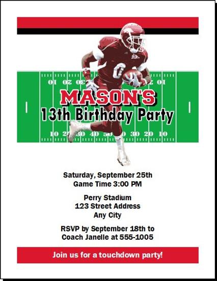 Arkansas Razorbacks Colored Football Birthday Party Invitation