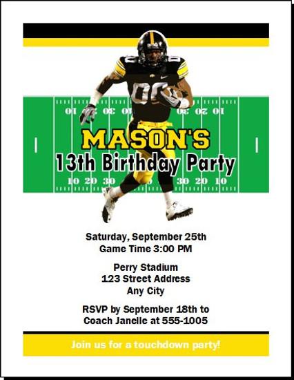 Iowa Hawkeyes Colored Football Birthday Party Invitation