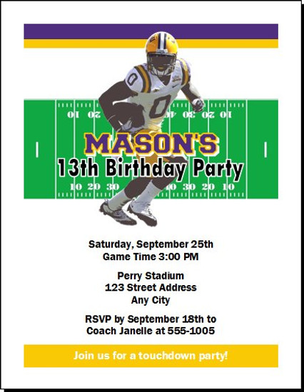 LSU Tigers Colored Football Birthday Party Invitation