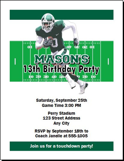 Michigan State Spartans Colored Football Birthday Party Invitation