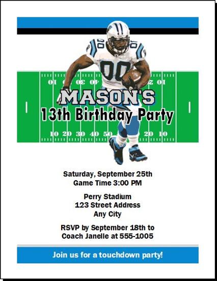 Carolina Panthers Colored Football Birthday Party Invitation