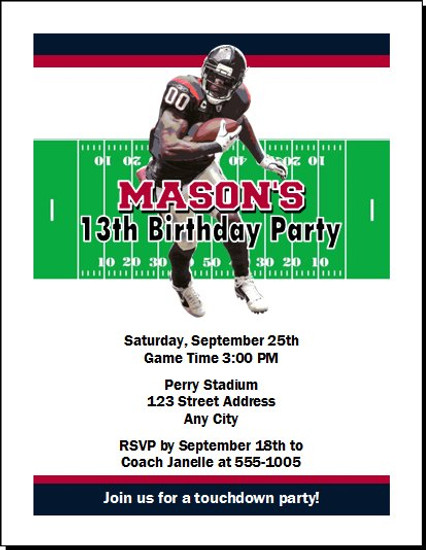 Houston Texans Colored Football Birthday Party Invitation