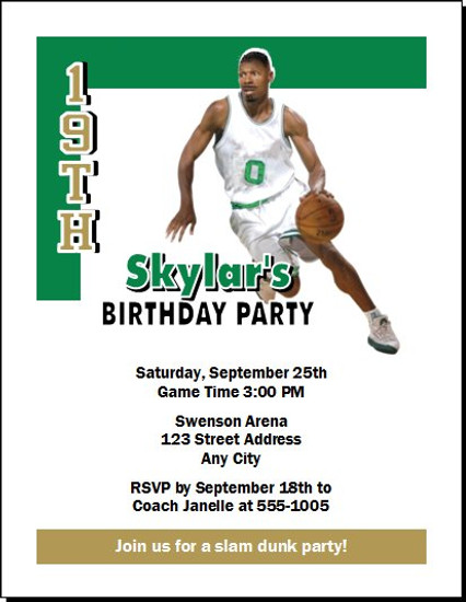 Boston Celtics Colored Basketball Party Invitation
