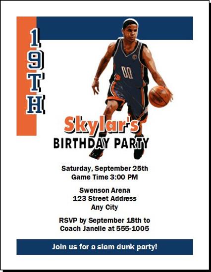 Charlotte Bobcats Colored Basketball Party Invitation
