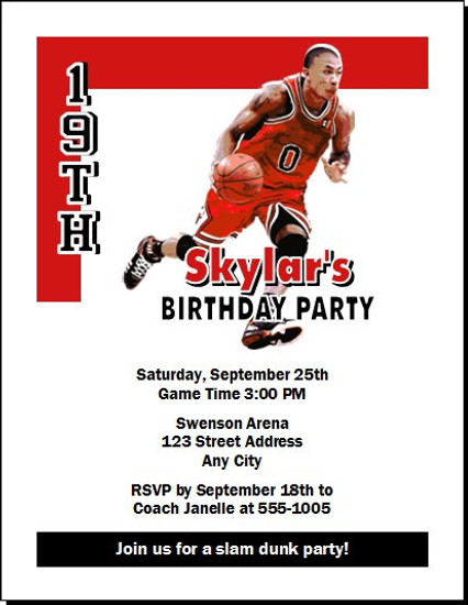 Chicago Bulls Colored Basketball Party Invitation