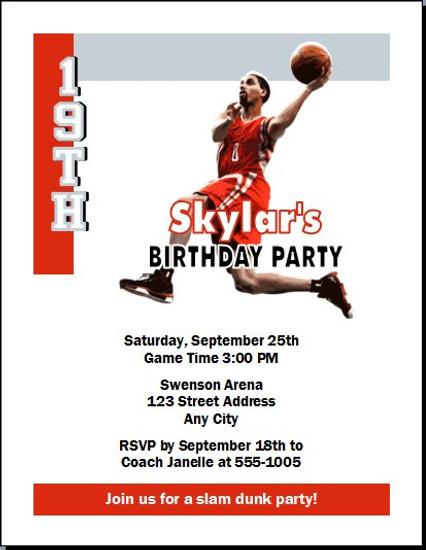 Houston Rockets Colored Basketball Party Invitation