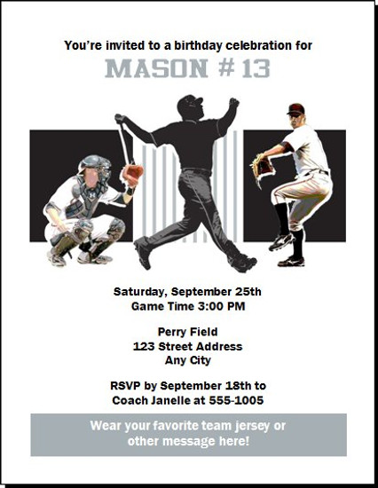 Chicago White Sox Colored Birthday Party Invitation