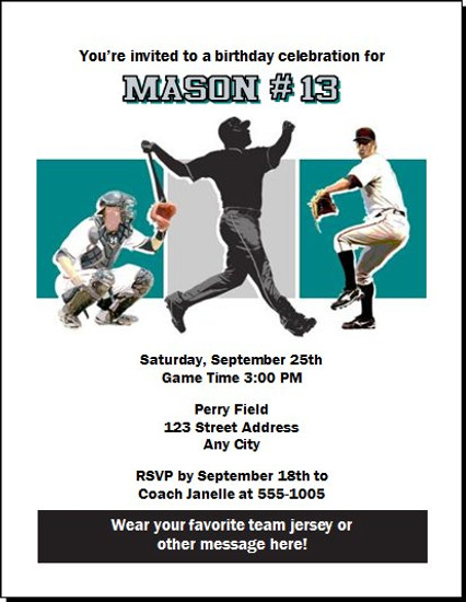 Florida Marlins Colored Birthday Party Invitation