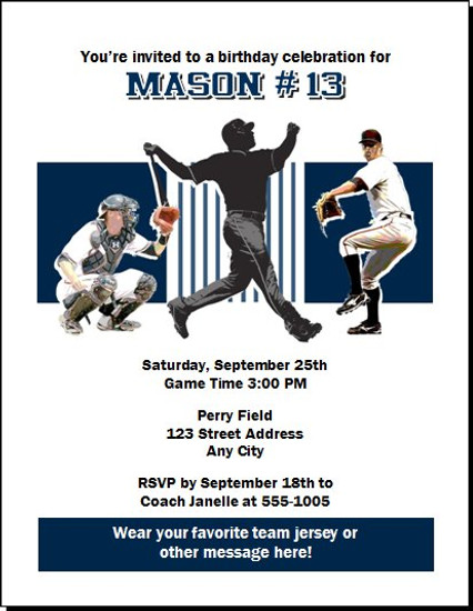 New York Yankees Colored Birthday Party Invitation