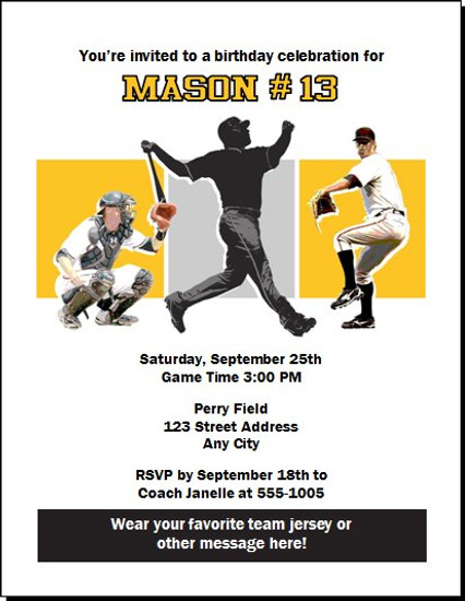 Pittsburgh Pirates Colored Birthday Party Invitation