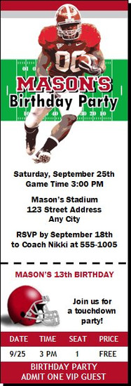 Alabama Crimson Tide Colored Football Ticket Invitaton