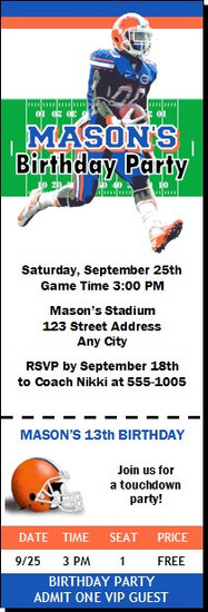 Florida Gators Colored Football Ticket Invitaton