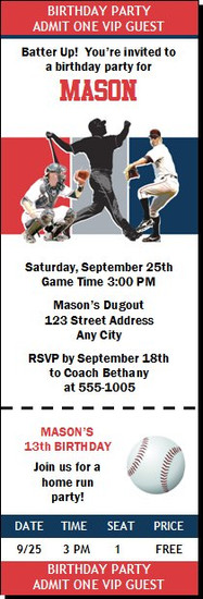 Boston Red Sox Colored Baseball Birthday Party Ticket Invitation