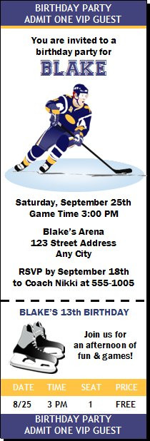 Hockey Birthday Party Ticket Invitation