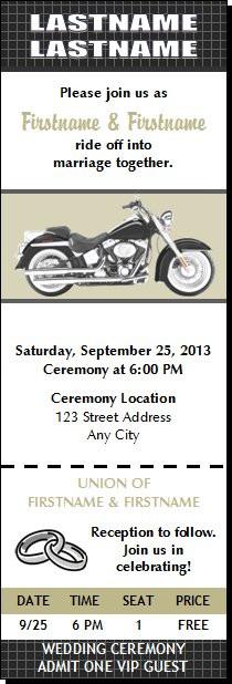 Motorcycle BW Wedding Ticket Invitation
