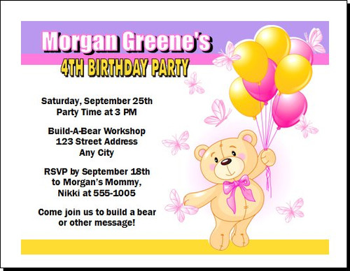 Build a Teddy Bear Birthday Party Invitation – Build a Bear Invitations Birthday