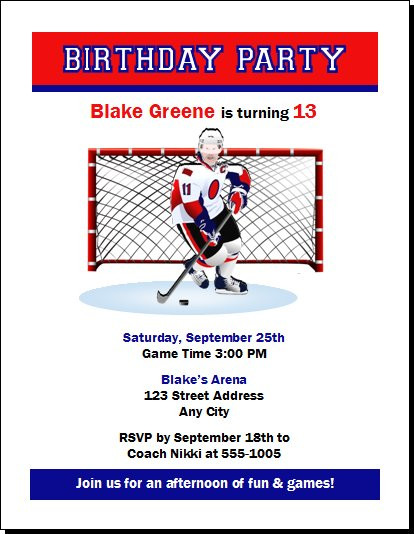 Hockey Goalie Birthday Party Invitation