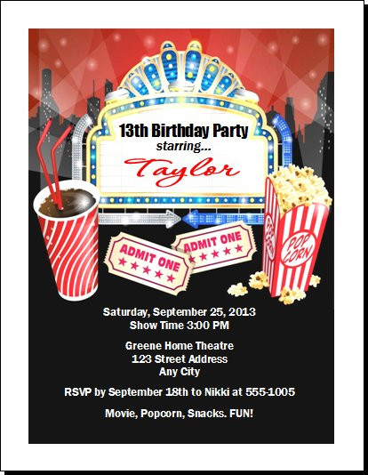 movie night birthday party invitation set of 12 - Movie Birthday Party Invitations