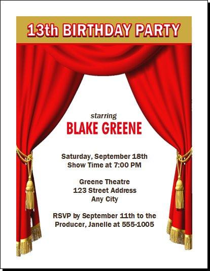 Theatre Acting Birthday Party Invitation Set of 12 – 11th Birthday Party Invitations