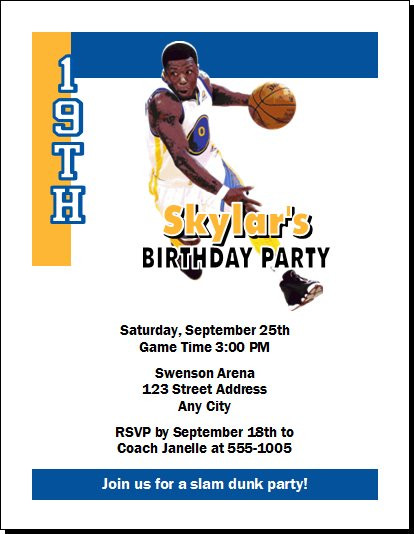 Golden State Warriors Colored Basketball Party Invitation – Basketball Party Invitations