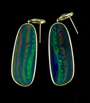 Australian Black Opal and Diamond Earrings. 14 KW Gold.
