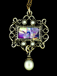 Ancient Roman Glass Sterling Silver Pearl Pendant