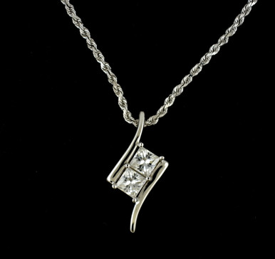 pendant with chain moissanite p cushion