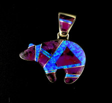Custom design authentic Native American bear pendant, handcrafted by Navajo artists in sterling silver, purple spiny oyster shell, blue denim lapis, and created opal. Chain not included.