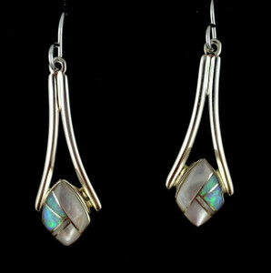 Sterling silver wire earrings in mother of pearl and created opal. Authentic American Indian jewelry, hand crafted by Navajo artists.