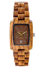 Tense handcrafted teak Timber men's watch with a brown dial, proudly made in British Columbia. The watch is made from 100% recycled and reclaimed wood, with stainless steel crown and clasp. All Tense Watch pieces are hypoallergenic, adjustable in size and manufactured in Canada with Miyota Watch Movements from Japan. Watch comes with a beautiful wooden case, a polishing cloth, and a tool for removing links. J8102T-BR