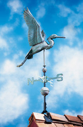 Copper Heron Weathervane - Verdigris