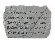 No Farewell Words Memorial Stone