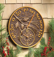 Pinecone Outdoor Clock & Thermometer