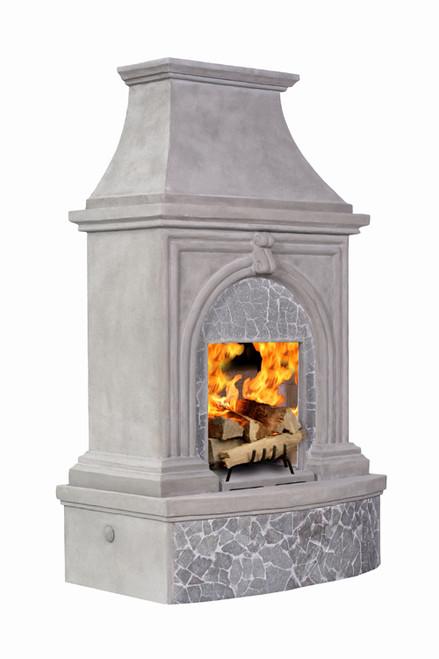 Premium Freestanding Outdoor Fireplace Stone Grey W Slate