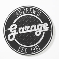 Round Garage Plaque (Personalize 2 Lines)