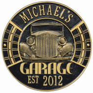 Vintage Car Garage Plaque (Personalize 2 lines)