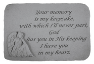 Your memory is My Keepsake...(with sitting angel)...Memorial Stone