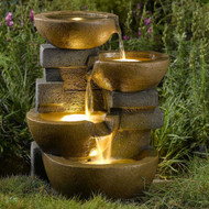 "Pots Water Fountain with LED Light 18""H"