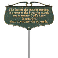 """The Kiss Of The Sun For Pardon..."" Garden Poem Sign"