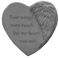 Your Wings...Winged Heart Memorial Stone