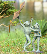 "Kite Flying Frog Sculpture 25""H"